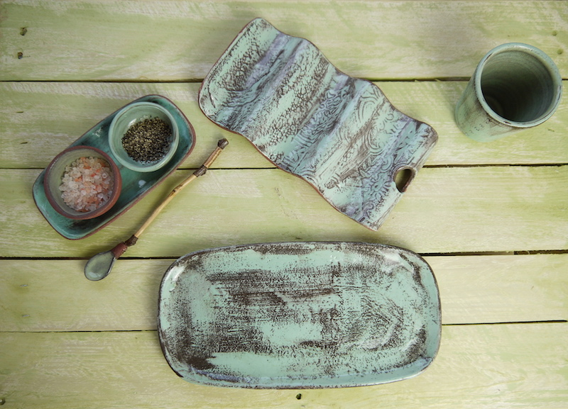 Taco Plate, Cruet set, Large Rec-Plate and Beaker. topview,Weathered Range