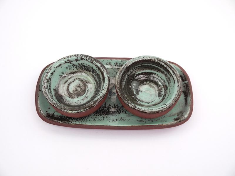 Cruet Set-Turquoise +Turquoise Dip Bowls.JPG