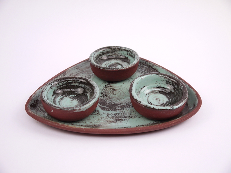 Tri-Plate-Turquoise- dip bowls-side view.